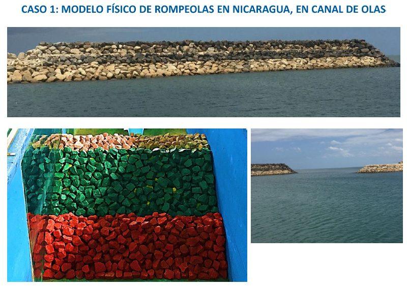 Modelo físico de rompeolas en Nicaragua, en el canal bidimensional de olas del INH.